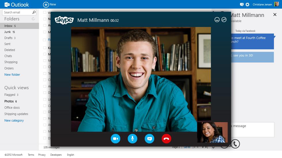 """Später will Microsoft seinen VoIP-Dienst Skype in Outlook.com integrieren, sodass Anwender ohne Installation des Skype-Clients Videoanrufe führen können (Bild: Microsoft). <br><br><i><a href=\""""http://www.zdnet.de/88117033/microsoft-stellt-moglichen-hotmail-nachfolger-outlook-com-vor/\"""" target=\""""_extern\"""">Vollständigen Artikel lesen</a></i>"""