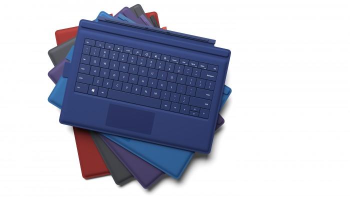 Type Cover: Die Kombination aus Schutzhülle und Tastatur ist für knapp 130 Euro in Rot, Violett, Blau, Schwarz sowie Hellblau erhältlich.