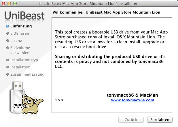 UniBeast - Mountain Lion erzeugt von aus dem App Store heruntergeladenen Apple-Betriebssystem einen bootbaren USB-Stick. Auch das Anfertigen einer startfähigen DVD ist möglich. Für den Test wählt ZDNet einen USB-Stick, da dadurch die Installation deutlich schneller als von DVD gelingt.
