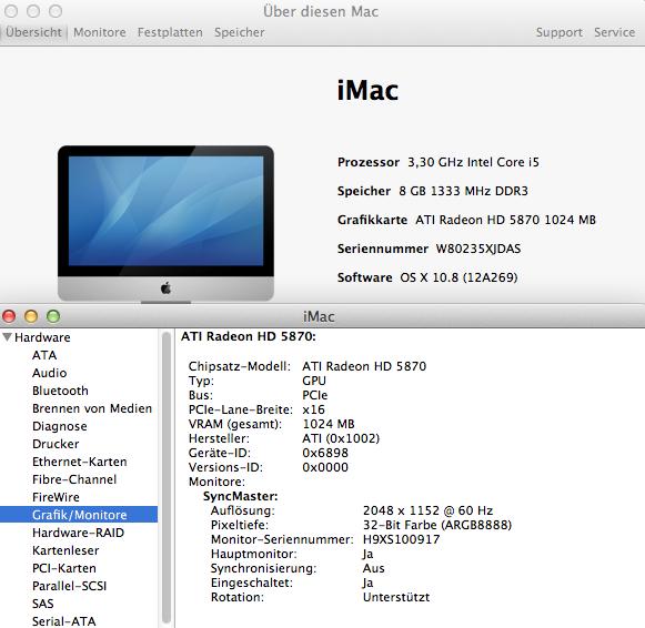 Für die verwendete Grafikkarte Radeon 5870 wird kein zusätzlicher Treiber benötigt. Der Grafikchip wird standardmäßig von Mountain Lion unterstützt, da Apple ihn selbst für einige Macs verwendet.