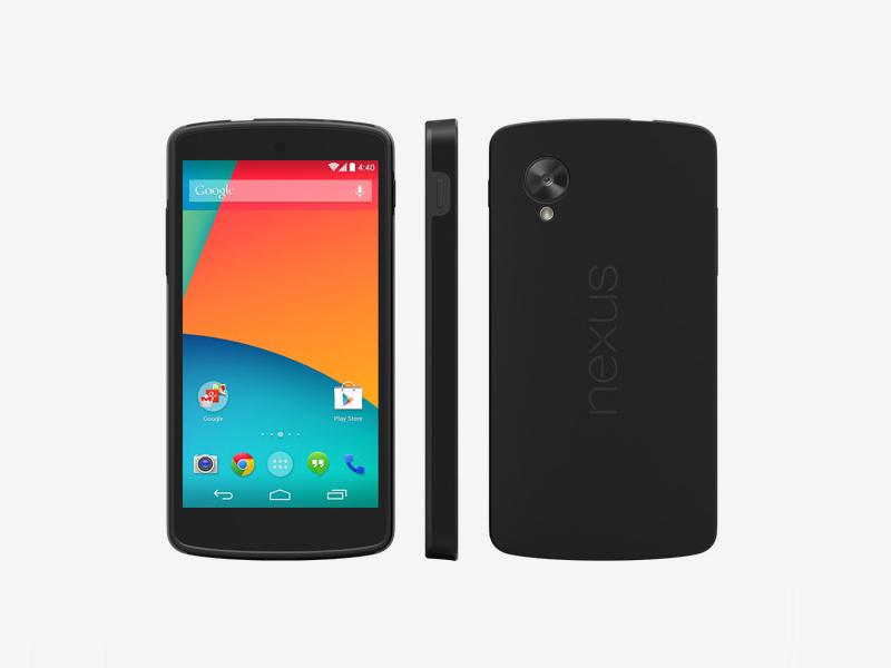 Zum Preis eines iPhone 5S gibt es zwei Nexus 5. Kein Wunder, wenn das Google-Smartphone schnell vergriffen ist. Die 349 Euro teuren 16-GByte-Modelle sind derzeit nicht mehr verfügbar. Auf das 32-GByte-Modell müssen Kunden aktuell zwei bis drei Wochen warten.  Das Nexus 5 verfügt über einen 4,95-Zoll großen Bildschirm mit IPS-Panel und 1080p-Auflösung. Das entspricht einer Pixeldichte von 445 ppi. Als Prozessor kommt ein Qualcomm Snapdragon 800 mit 2,3 GHz und Adreno-330-Grafik zum Einsatz. Damit soll es ersten Benchmarks zufolge im 3D-Bereich etwa so schnell arbeiten wie das iPhone 5S. Der Arbeitsspeicher ist mit 2 GByte genauso groß wie beim Nexus 4.  Die Auflösung der Kamera beträgt 8 Megapixel. Sie verfügt über einen optischen Bildstabilisator. Eine zweite für Videotelefonie bietet 1,3 Megepixel.  Anders als beim Nexus 4 besteht die Rückseite des Geräts nicht aus Glas, sondern aus Plastik. Vermutlich ist es deswegen auch mit 130 Gramm etwas leichter als das Nexus 4, das 139 Gramm auf die Waage bringt. Von den Abmessungen mit 137,84 mal 69,17 mal 8,59 ist es im Vergleich zum Vorgänger etwas größer. Die Akkukapazität beträgt 2300 mAh. Damit sollen 17 Stunden Sprachtelefonie und 8,5 Stunden Surfen über WLAN möglich sein.