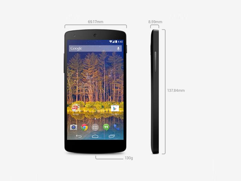Anders als beim Nexus 4 besteht die Rückseite des Geräts nicht aus Glas, sondern aus Plastik. Vermutlich ist es deswegen auch mit 130 Gramm etwas leichter als das Nexus 4, das 139 Gramm auf die Waage bringt. Von den Abmessungen mit 137,84 mal 69,17 mal 8,59 ist es im Vergleich zum Vorgänger etwas größer.