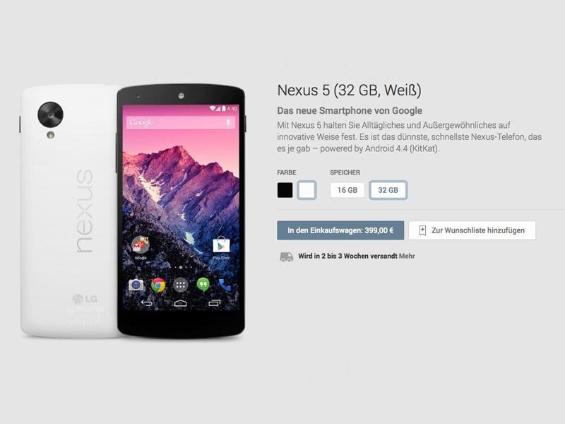 Nexus 5 32 GByte (Weiß): zwei bis drei Wochen Lieferzeit