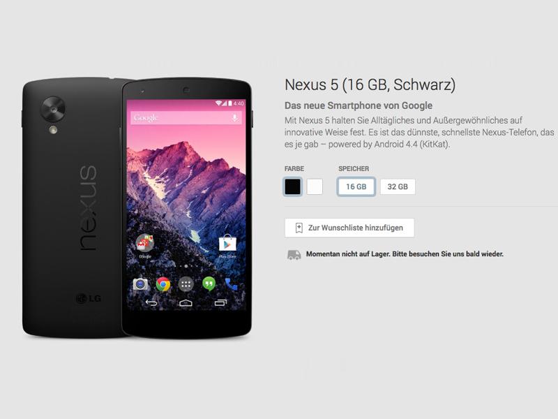 Nexus 5 16 GByte (Schwarz): derzeit ausverkauft