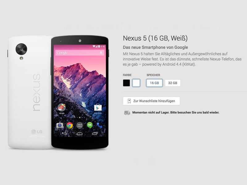 Nexus 5 16 GByte (Weiß): derzeit ausverkauft