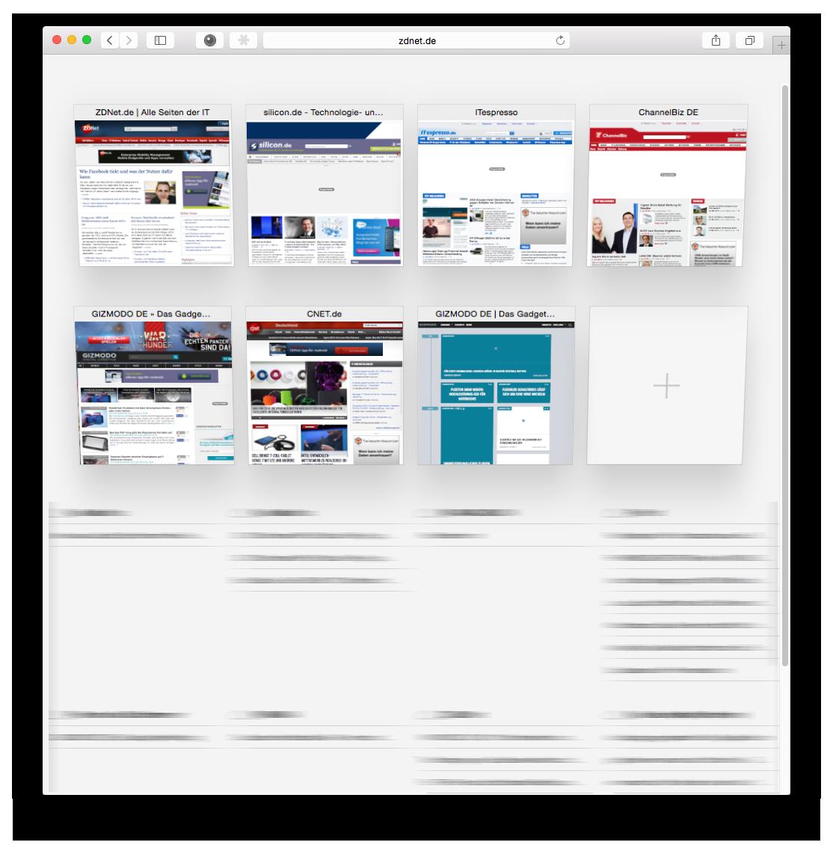 """Die Darstellung geöffneter Tabs sieht nun genauso wie unter <a href=\""""http://www.zdnet.de/88194890/ios-8-safari-auf-dem-ipad-im-praxistest/\"""" title=\""""iOS 8: Safari im Praxistest\"""">iOS</a> aus. Mit einem Klick auf das rechte Symbol in der oberen Leiste, das aus zwei versetzten Vierecken besteht, öffnet sich die Tab-Ansicht. Dort werden die geöffneten Webseiten übersichtlich als Vorschau angezeigt. Auf mit der Apple-ID verbundenen entfernten Geräten geöffnete Tabs erscheinen unterteilt in Listen. Somit erhält man einen deutlich besseren Überblick."""