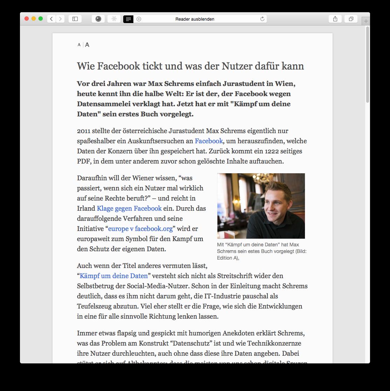 """Auch die Implementierung der Lesemodus-Funktion unterscheidet sich kaum mehr von der <a href=\""""http://www.zdnet.de/88194890/ios-8-safari-auf-dem-ipad-im-praxistest/\"""" title=\""""iOS 8: Safari im Praxistest\"""">iOS-Variante</a>. Statt eines Schalters mit dem Namen Reader erscheint am linken Rand der Adress- und Suchleiste ein Symbol mit untereinander angeordneten Strichen. Damit lässt sich die Lesemodus-Darstellung aktivieren."""