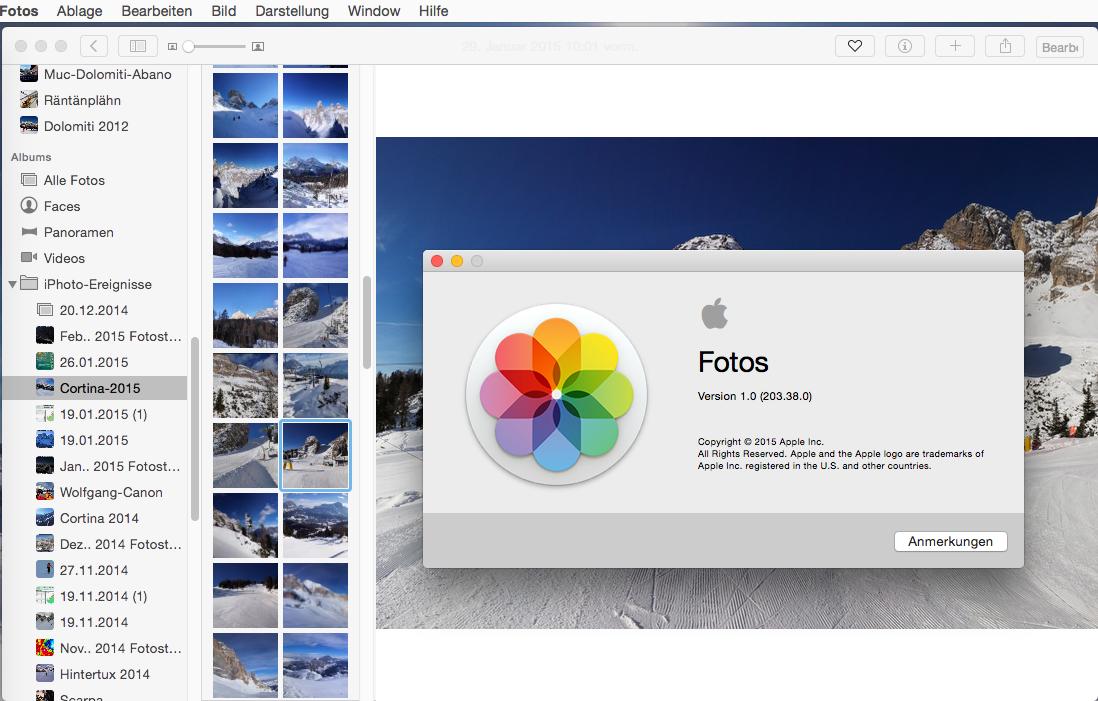 Wer lieber mit der von iPhoto gewohnten Seitenleiste arbeitet, kann diese einblenden. Außerdem steht optional die Anzeige quadratischer Miniaturen zur Verfügung.