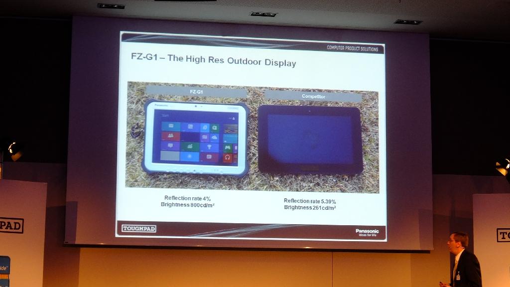 """Panasonic bezeichnet die Paneltechnologie als \""""IPS Pro next outdoor technology\"""". Tatsächlich stammt sie von der übernommenen Firma IPS Alpha. Deren Paneltechnik kommt auch in den Fernsehgeräten von Panasonic zum Einsatz."""