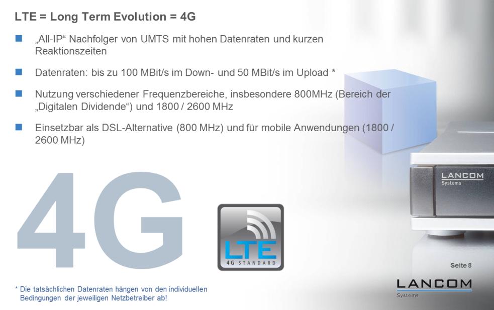 """LTE steht für Long Term Evolution. Der schnelle UMTS-Nachfolger wird in Deutschland auf den Frequenz-Bändern bei 800, 1800 und 2600 MHz ausgerollt (Grafik: LANCOM Systems).  Mit dem iPhone 5 ist LTE richtig populär geworden. Allerdings unterstützt das Apple-Smartphone nur eine Frequenz, die ausschließlich von der Telekom genutzt wird. Wie schnell das Smartphone mit LTE surft, hängt von vielen Parametern ab: Zahl der aktiven LTE-Geräte in einer LTE-Funkzelle, Entfernung zur Basisstation, Frequenz, Kanalbreite, Funkhindernisse wie etwa Stahlbeton. ZDNet erklärt das komplexe Zusammenspiel.<br> <a href=\""""http://www.zdnet.de/88132147/lte-warum-kommen-keine-100-mbits-einflussfaktoren-der-4g-surfgeschwindigkeit/\"""" title=\""""Zum Artikel: LTE: Warum kommen keine 100 Megabit/s?\"""">Zum Artikel: LTE: Warum kommen keine 100 Megabit/s?</a>"""