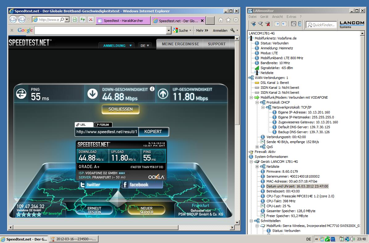 """Unweit der Münchner Messeautobahn A94 zog der """"LANCOM 1781-4G"""" LTE-Business-Router schon am 16. März 2012 fast 45 MBit/s aus dem LTE-800-Netz von Vodafone. Dabei steckte eine SIM-Karte mit dem besten, bundesweit mobilen Vodafone-LTE-Tarif 50.000/10.000 im Router. Also kam sogar mehr Upload-Speed, als den Vodafone-Kunden offiziell kommuniziert wird. Allerdings war die obige Messung kurz vor Mitternacht. So schöne Indoor-Messwerte kommen nicht immer (Screenshot: Harald Karcher). <br> <a href=\""""http://www.zdnet.de/88132147/lte-warum-kommen-keine-100-mbits-einflussfaktoren-der-4g-surfgeschwindigkeit/\"""" title=\""""Zum Artikel: LTE: Warum kommen keine 100 Megabit/s?\"""">Zum Artikel: LTE: Warum kommen keine 100 Megabit/s?</a>"""