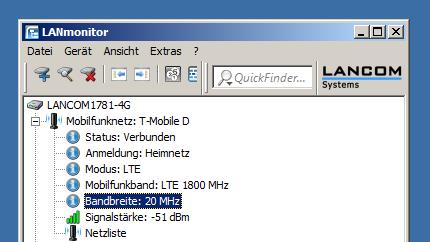 """Bei einer Messfahrt fiel im März 2012 erstmals auf, dass die Telekom die Kanalbreite ihres LTE-1800-Pilot-Netzes in München von zuvor 15 MHz auf nunmehr 20 MHz aufgebohrt hat. Je breiter der Kanal, desto mehr Speed geht durch die Luft. Das kennt man ja von WLAN-11n. Der LANCOM-Router stand bei dieser Messung im Auto auf dem Armaturenbrett (Screenshot: Harald Karcher). <br> <a href=\""""http://www.zdnet.de/88132147/lte-warum-kommen-keine-100-mbits-einflussfaktoren-der-4g-surfgeschwindigkeit/\"""" title=\""""Zum Artikel: LTE: Warum kommen keine 100 Megabit/s?\"""">Zum Artikel: LTE: Warum kommen keine 100 Megabit/s?</a>"""