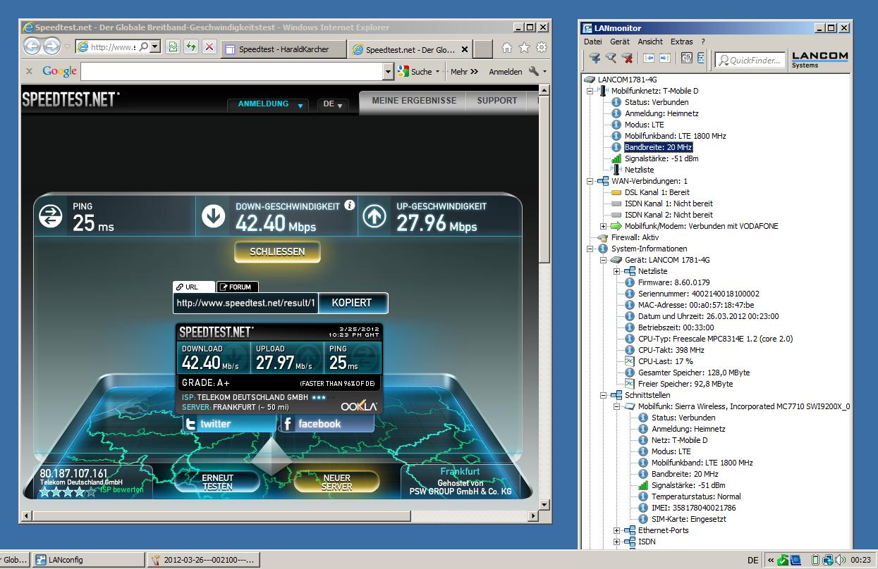"""Eine Messung mit dem """"LANCOM 1781-4G"""" Router ergab am 26. März 2012 gegen 00:23 Uhr im LTE-1800-Netz der Telekom in Riem einen Download von 42,40 und einen Upload von 27,96 MBit/s bei einer Pingzeit von 25 Millisekunden. DL-Speed und Pingzeit können also mit VDSL-50 konkurrieren. Der UL-Speed stellt VDSL-50 sogar um das Dreifache in den Schatten. Der LANCOM-Router stand bei dieser Messung im Auto auf dem Armaturenbrett (Screenshot: Harald Karcher). <br> <a href=\""""http://www.zdnet.de/88132147/lte-warum-kommen-keine-100-mbits-einflussfaktoren-der-4g-surfgeschwindigkeit/\"""" title=\""""Zum Artikel: LTE: Warum kommen keine 100 Megabit/s?\"""">Zum Artikel: LTE: Warum kommen keine 100 Megabit/s?</a>"""