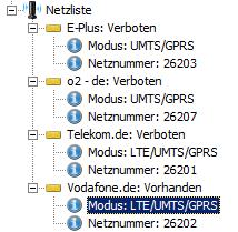 """Netzliste: Hier steckt gerade eine SIM-Karte von Vodafone im LTE-Business-Router """"LANCOM 1781-4G"""". Damit ist der Zugriff auf die Vodafone-Netze per GPRS, UMTS und LTE gestattet. Außerdem funken noch LTE/UMTS/GPRS-Netze von der Telekom sowie LTE-lose UMTS/GPRS-Netze von E-Plus und O2 am gescannten Standort. Auf die drei Letztgenannten ist der Zugriff mit der verwendeten LTE-SIM-Karte von Vodafone jedoch """"verboten"""" (Screenshot: Harald Karcher). <br> <a href=\""""http://www.zdnet.de/88132147/lte-warum-kommen-keine-100-mbits-einflussfaktoren-der-4g-surfgeschwindigkeit/\"""" title=\""""Zum Artikel: LTE: Warum kommen keine 100 Megabit/s?\"""">Zum Artikel: LTE: Warum kommen keine 100 Megabit/s?</a>"""