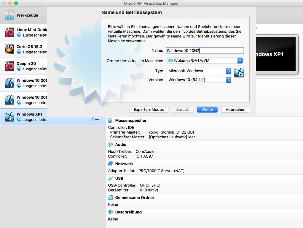 """<a href=\""""https://www.virtualbox.org/wiki/Downloads\"""" target=\""""_blank\"""">Virtualbox</a> steht für Windows, macOS und Linux zur Verfügung. Damit lassen sich gängige Betriebssysteme virtualisieren, sodass man zum Beispiel das neue Windows 10 20H2 auch unter macOS und Linux nutzen kann. </br> Die Einrichtung wird durch einen Assistenten unterstützt. </br>"""