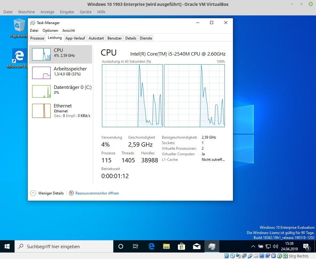 """<a href=\""""https://downloads.zdnet.de/3200/virtualbox/\"""" target=\""""_blank\"""">Virtualbox</a> liegt für Windows, macOS und Linux vor. Aktuell ist die Version 6.x, die Installation von Windows 1903 gelingt aber auch mit der Vorgängervariante. Damit lässt sich das neue Microsoft-Betriebssystem testen, ohne dass man es physikalisch auf einem PC installieren muss.<br> Die Bildergalerie zeigt die einzelnen Installationsschritte. <br>Eine ISO von Windows 10 kann man sich <a href=\""""https://www.zdnet.de/88357711/windows-10-19h1-jetzt-iso-herunterladen/\"""" rel=\""""noopener\"""" target=\""""_blank\"""">auf Basis von Dateien der Unified Update Platform (UUP) selbst erstellen</a>.  Unternehmenskunden können die Enterprise-Variante direkt von den Microsoft-Servern <a href=\""""https://www.zdnet.de/88358741/windows-10-1903-enterprise-steht-zum-test-bereit/\"""" target=\""""_blank\"""">herunterladen</a>.  Diese ist 90 Tage lang aktiviert, sodass sämtliche Funktionen getestet werden können (Bild: ZDNet.de)."""