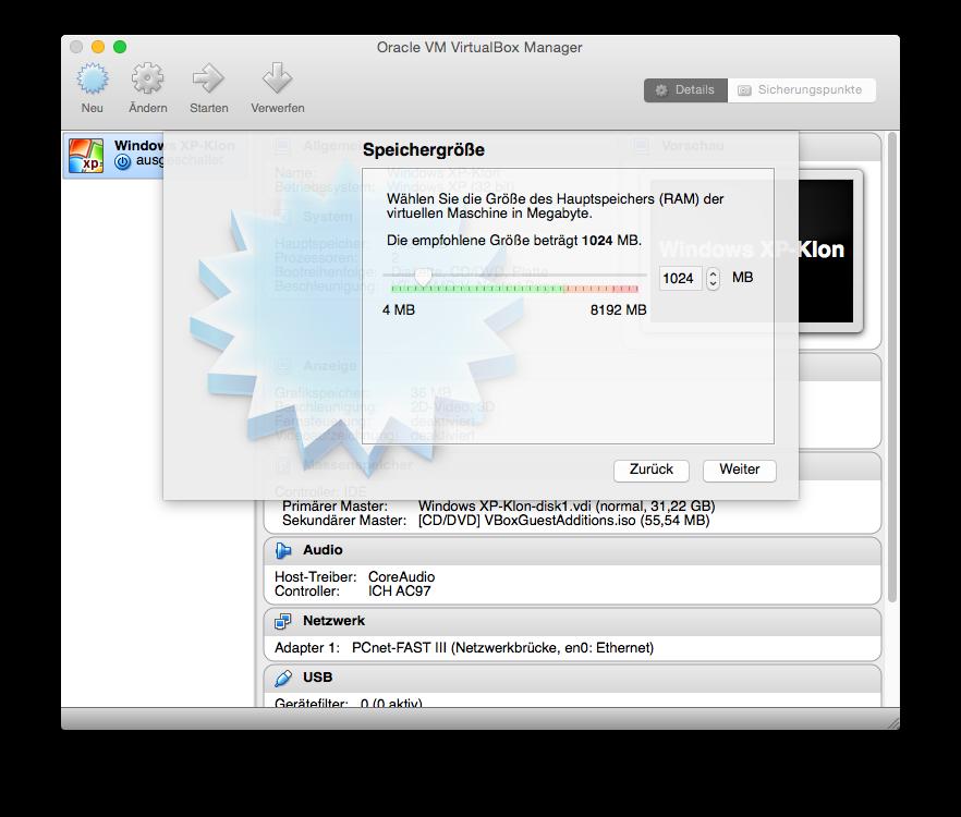 Für die Größe des Arbeitsspeichers schlägt der Virtualbox-Assistent 1 GByte vor. Das ist für Windows 10 ausreichend. Wer allerdings RAM-intensivere Anwendungen installieren will, sollte der virtuellen Maschine etwas mehr Arbeitsspeicher spendieren. Diese Einstellung lässt sich aber auch nach der Installation von Windows ändern.
