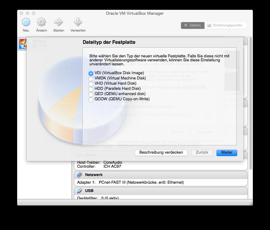 Als nächstes erfolgt die Konfiguration der Festplatte. Falls die virtuelle Maschine später nicht mit anderen Lösungen von VMware oder Parallels vewendet werden soll, kann man mit der Standardeinstellung VDI (Virtual Box Image) fortfahren.