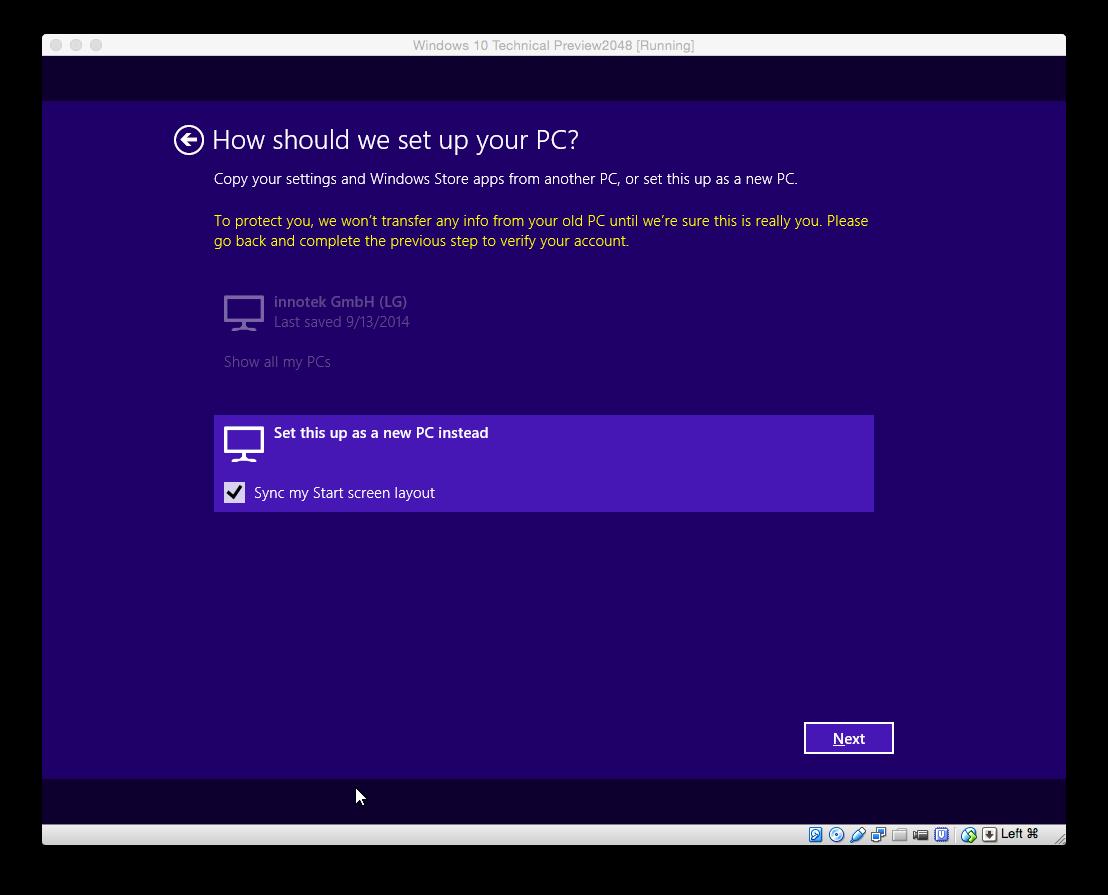 Falls man sich bei der Zwei-Faktor-Authentfizierung nicht identifiziert hat, werden keine Daten des zuvor synchronisierten PCs übernommen. Dann wird der Rechner als neuer PC konfiguriert. Lediglich das Hintergrundbild wird übernommen.