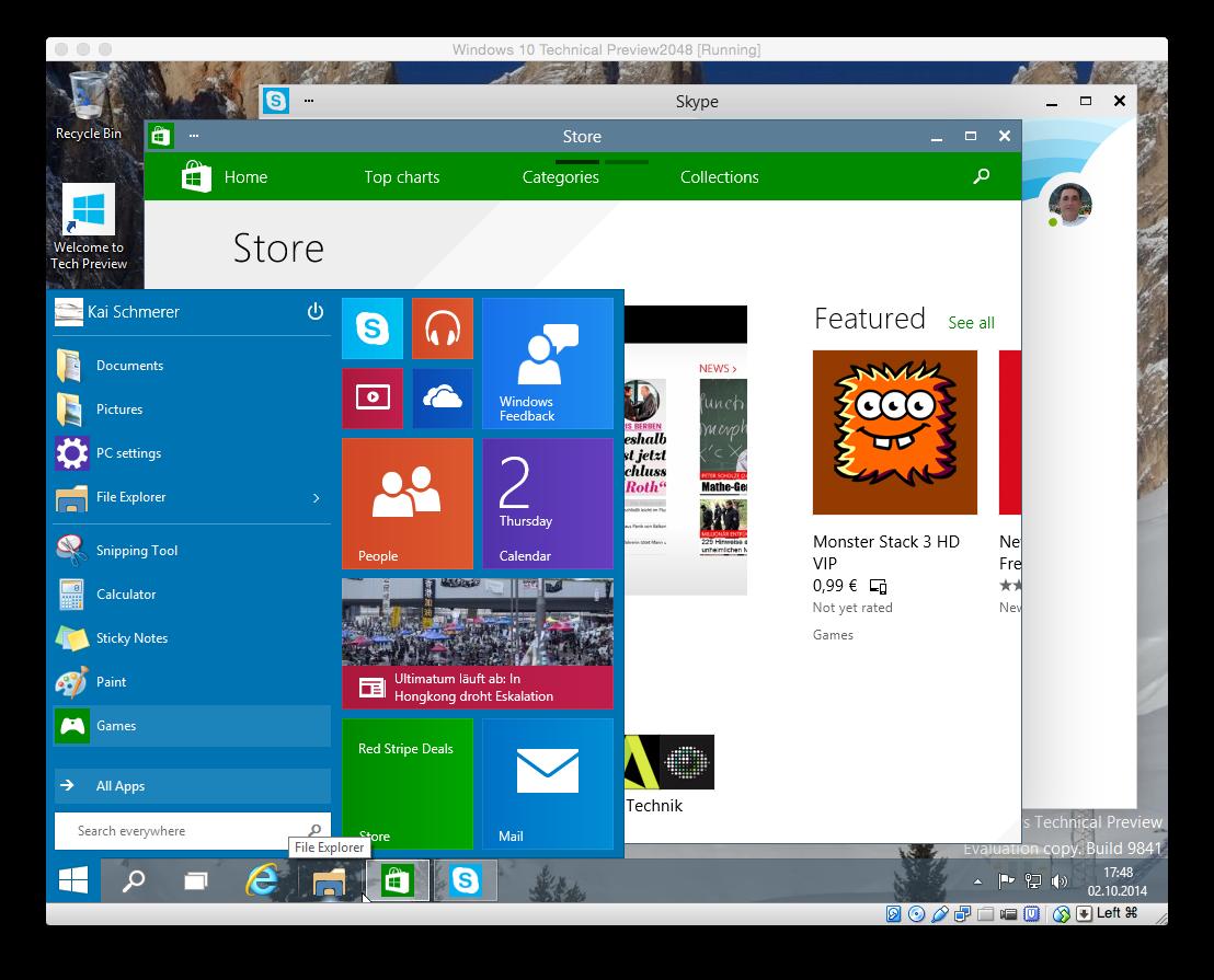 ...Fenster unter der Desktop-Oberfläche.