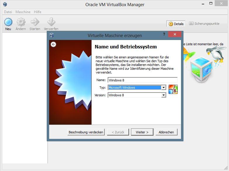 Um die neuen Touchgesten kennnen zu lernen, ist natürlich die Installation auf einem entsprechenden Device nötig. Bevor man mit der Einrichtung der virtuellen Maschine beginnt, sollte man zunächst das Extensions-Pack installieren. Dieses bietet zusätzliche Funktionen und optimale Performance (USB 2.0, VirtualBox RDP und PXE ). Zur einfachen Konfiguration bietet Virtualbox einen Assistenten, der die wesentlichen Merkmale erfasst. Als erstes werden Name, Typ und Version der virtuellen Maschine festgelegt.