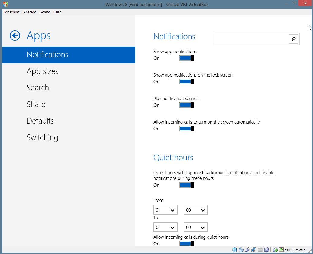 """Neu sind \""""Quiet hours\"""" die unter Windows 8 Blue dafür sorgen, dass das Gerät zu bestimmten Zeiten keinen Mucks macht. Für eingehende Anrufe, womöglich von Skype, lässt sich eine Ausnahmeregel aktivieren. Diese Option kennen iOS-Anwender schon lange - Android-Nutzer, die CyanogenMod verwenden ebenso."""