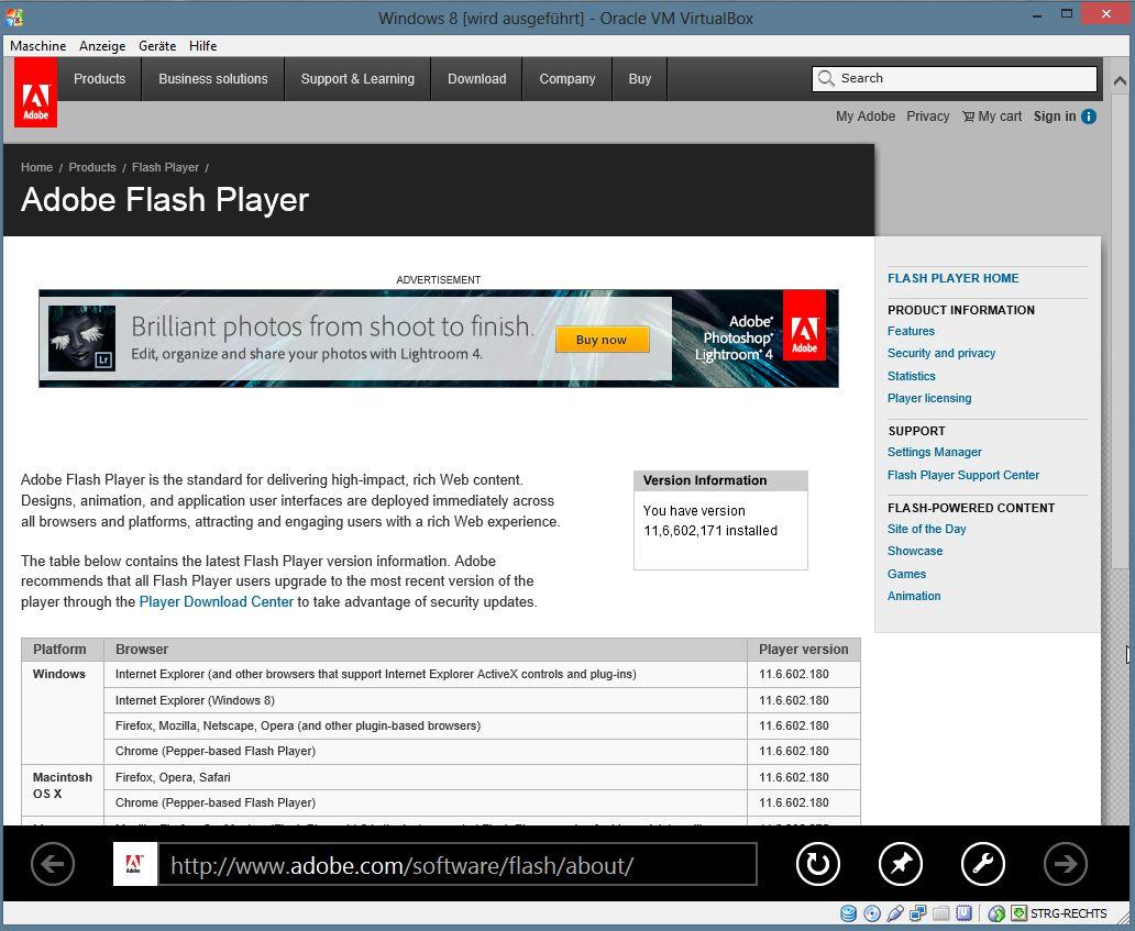 Unter Windows 8 Blue ist der Flashplayer vorinstalliert.