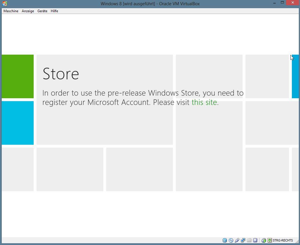 Der App Store steht unter Windows 8 Blue noch nicht zur Verfügung.
