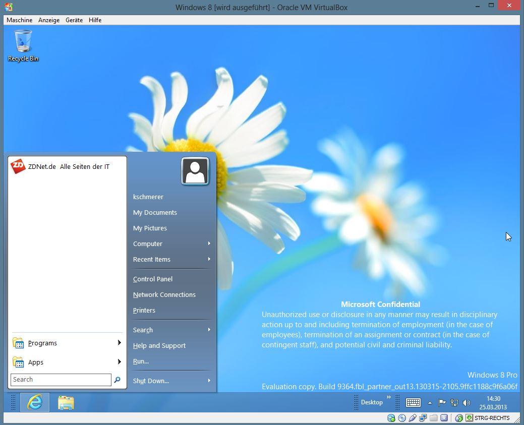 """Auch unter Windows 8 Blue verzichtet Microsoft auf das von vielen Desktop-Anwendern gewünschte Startmenü. Allerdings kann man sich mit Drittanbieter-Tools behelfen. Das populäre <a href=\""""http://downloads.netmediaeurope.de/66874/classic-shell/\"""" target=\""""_blank\"""" title=\""""Classic Shell\"""">Classic Shell</a> funktioniert zwar prinzipiell, allerdings wird der  Menüschalter noch nicht angezeigt."""