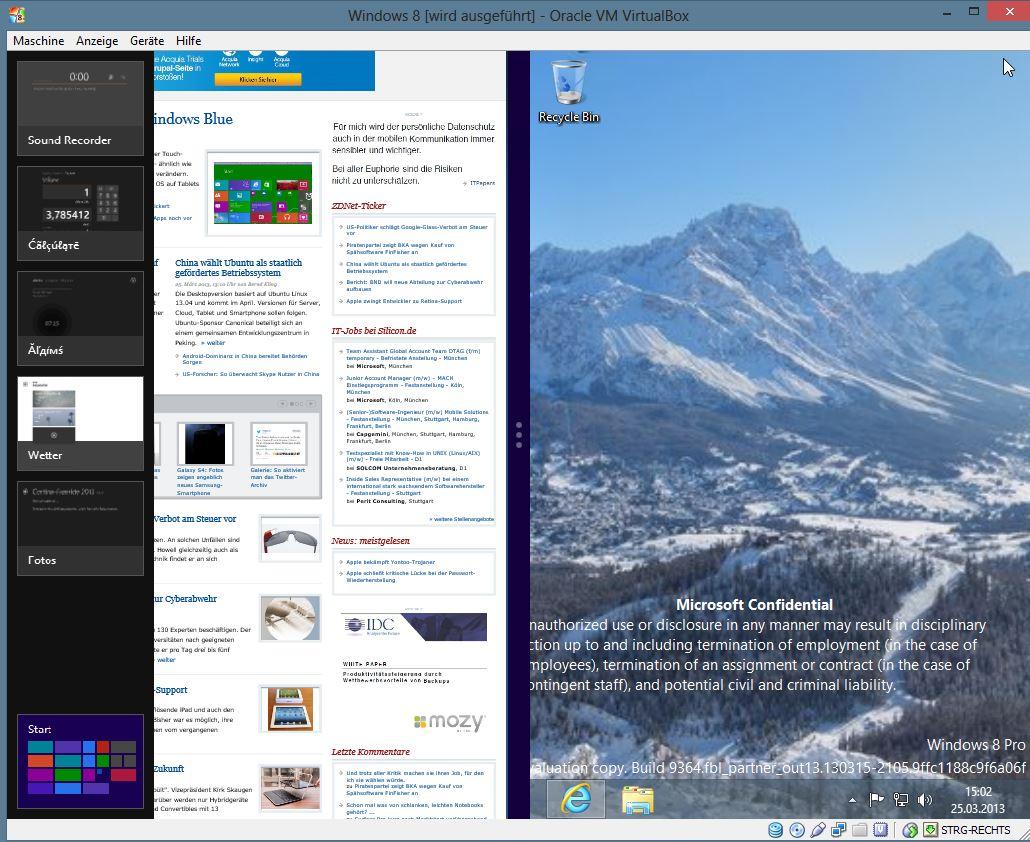 Windows 8 Blue unterstützt die gleichzeitige Darstellung von zwei Apps im Modern-Format. Bisher war lediglich die Fullscreen-Ansicht mit einer App möglich. Um dieses Feature nutzen zu können, zieht man aus der Taskleiste eine App auf den Desktop. Da der Desktop auch als App vorliegt, kann man den Bildschirm mit einer Modern App und dem herkömmlichen Windows-Desktop aufteilen. Doch nicht alles was möglich ist, ergibt auch Sinn.