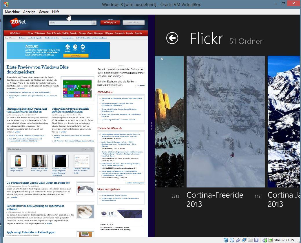 Die Aufteilung des Bildschirms mit zwei Modern Apps kann hingegen durchaus sinnvoll ein.