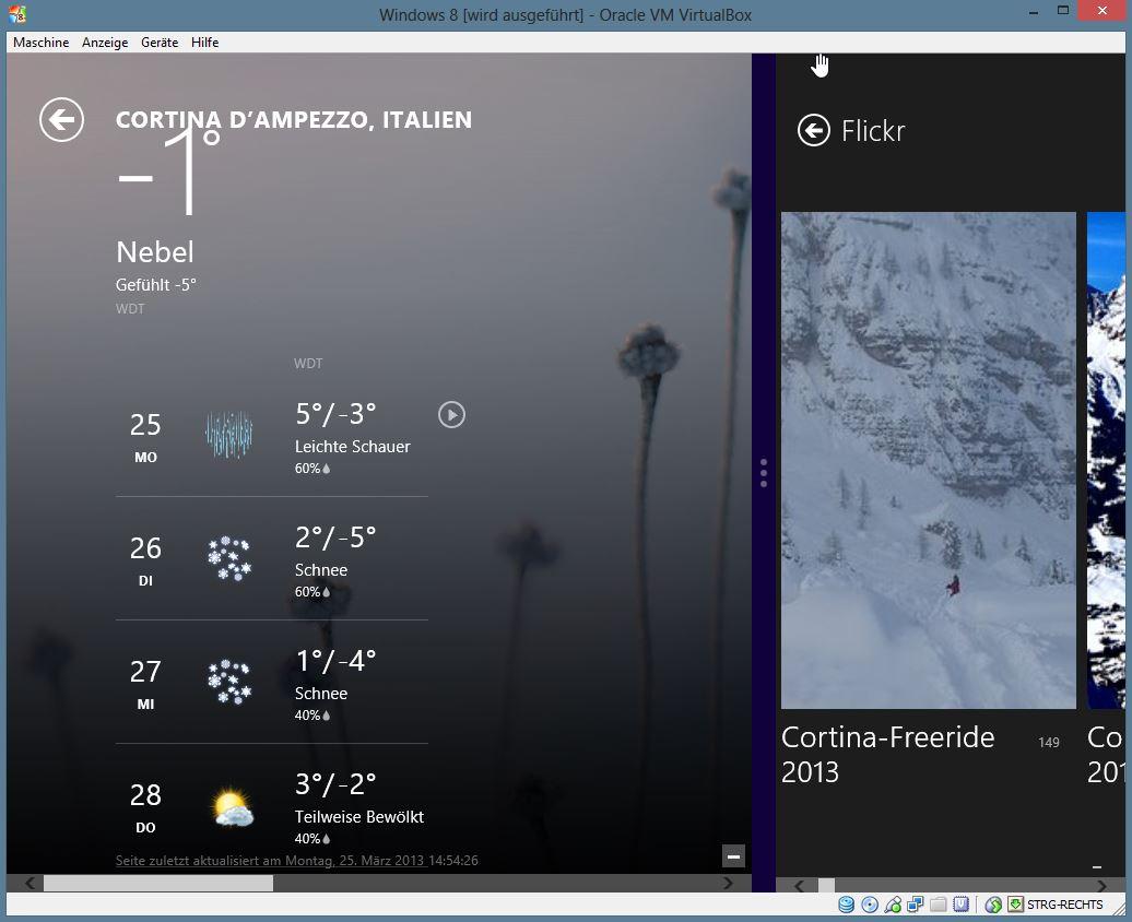 Neben der gleichmäßigen Nutzung des Bildschirms durch zwei Apps, ist auch eine andere Aufteilung möglich. Hierfür verschiebt die Trennungslinie zwischen den Apps.
