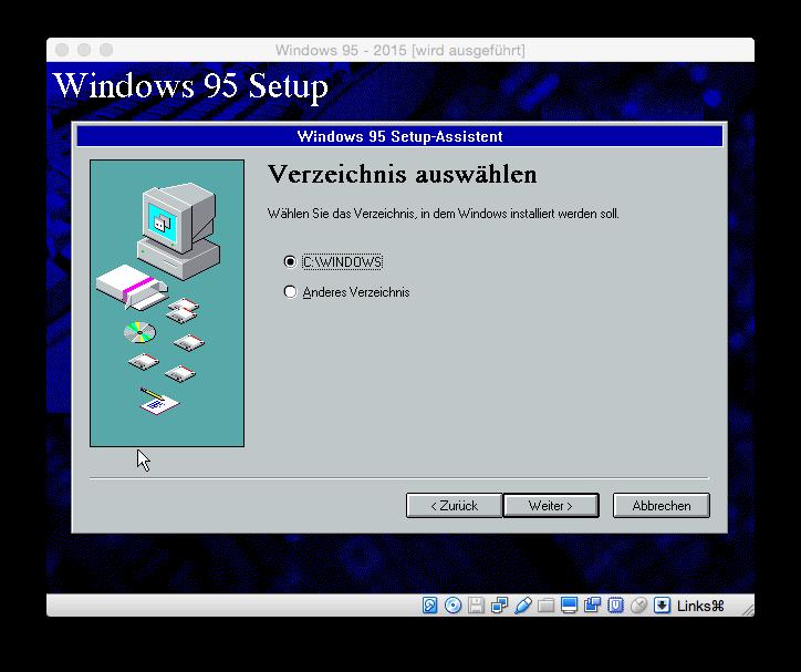 Standardmäßig wird Windows 95 in das Verzeichnis C:\\Windows installiert.