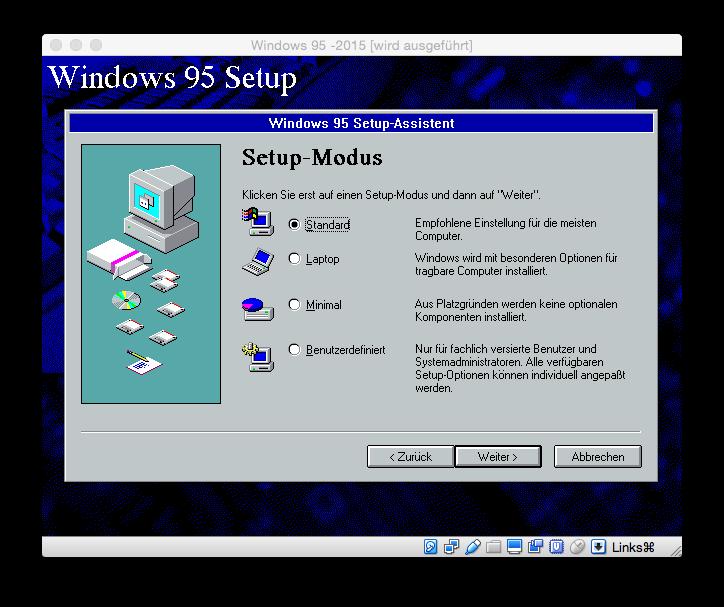 Der Setup-Modus unterscheidet vier Varianten.