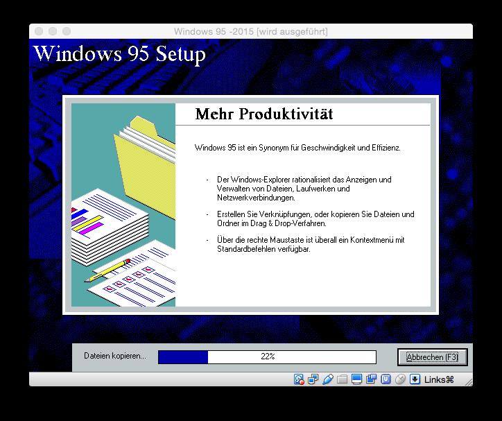 """Werbeaussagen wie \""""Windows 95 ist ein Synonym für Geschwindigkeit und Produktivität\"""" sind wohl zeitlos."""